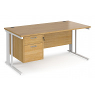 Value Line Deluxe Cable Managed Rectangular Desk 2 Drawers (White Legs)