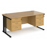 Value Line Deluxe Cable Managed Rectangular Desk 3+3 Drawers (Black Legs)