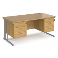 Value Line Deluxe Cable Managed Rectangular Desk 3+3 Drawers (Silver Legs)