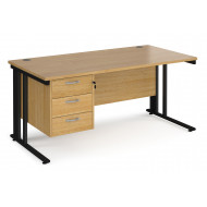 Value Line Deluxe Cable Managed Rectangular Desk 3 Drawers (Black Legs)