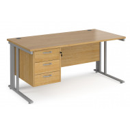 Value Line Deluxe Cable Managed Rectangular Desk 3 Drawers (Silver Legs)