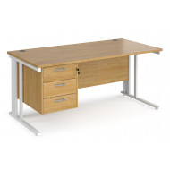 Value Line Deluxe Cable Managed Rectangular Desk 3 Drawers (White Legs)