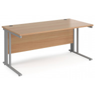 Next-Day Value Line Deluxe Cable Managed Rectangular Desk (Silver Legs)