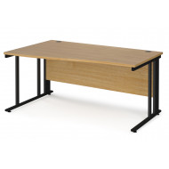 Value Line Deluxe Cable Managed Left Hand Wave Desk (Black Legs)