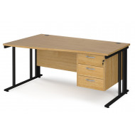 Value Line Deluxe Cable Managed Left Hand Wave Desk 3 Drawers (Black Legs)