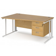 Value Line Deluxe Cable Managed Left Hand Wave Desk 3 Drawers (White Legs)