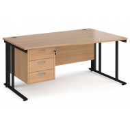 Next-Day Value Line Deluxe Cable Managed Right Hand Wave Desk 3 Drawers (Black Legs)
