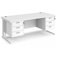 All White Premium Cable Managed Rectangular Desk 3+3 Drawers