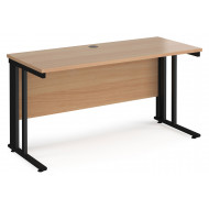 Next-Day Value Line Deluxe Cable Managed Narrow Rectangular Desk (Black Legs)