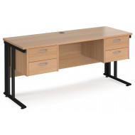 Next-Day Value Line Deluxe Cable Managed Narrow Rectangular Desk 2+2 Drawers (Black Legs)