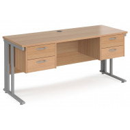 Next-Day Value Line Deluxe Cable Managed Narrow Rectangular Desk 2+2 Drawers (Silver Legs)