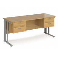 Value Line Deluxe Cable Managed Narrow Rectangular Desk 2+2 Drawers (Silver Legs)