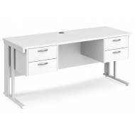 All White Premium Cable Managed Narrow Rectangular Desk 2+2 Drawers