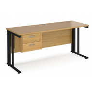 Alcott Cable Managed Narrow Rectangular Home Office Desk With Pedestal
