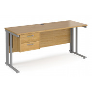Value Line Deluxe Cable Managed Narrow Rectangular Desk 2 Drawers (Silver Legs)