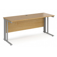 Value Line Deluxe Cable Managed Narrow Rectangular Desk (Silver Legs)