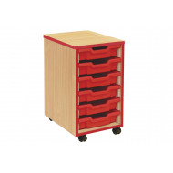 6 Shallow Tray Storage Unit With Coloured Edge