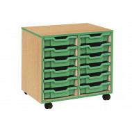 12 Shallow Tray Storage Unit With Coloured Edge