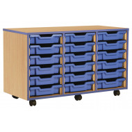 18 Shallow Tray Storage Unit With Coloured Edge