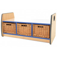 Junior Double Sided Bench Storage Unit With Mirror Top & 3 Wicker Baskets
