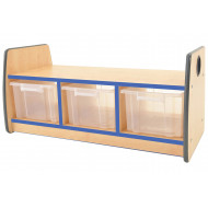 Junior Double Sided Bench Storage Unit With Laminate Top & 3 Clear Tubs