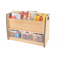 Junior Tall Floor Book Storage Unit With 3 Clear Tubs