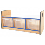 Junior Double Sided Bench Storage Unit With Mirror Top & 3 Clear Tubs