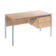 Crush Bent Teachers Desk With 2 Drawers