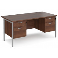 Next-Day Value Line Deluxe H-Leg Rectangular Desk 2+2 Drawers (Silver Legs)
