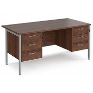 Value Line Deluxe H-Leg Rectangular Desk 3+3 Drawers (Silver Legs)