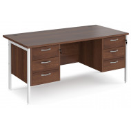 Value Line Deluxe H-Leg Rectangular Desk 3+3 Drawers (White Legs)