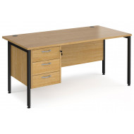 Alcott H-Leg Rectangular Home Office Desk With Pedestal