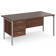 Value Line Deluxe H-Leg Rectangular Desk 3 Drawers (Silver Legs)