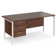 Value Line Deluxe H-Leg Rectangular Desk 3 Drawers (White Legs)