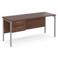 Value Line Deluxe H-Leg Narrow Rectangular Desk 2 Drawers (Silver Legs)