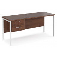 Value Line Deluxe H-Leg Narrow Rectangular Desk 2 Drawers (White Legs)
