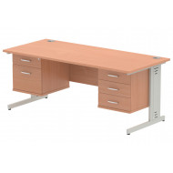Vitali Deluxe Rectangular Desk 2+3 Drawers (Silver Legs)