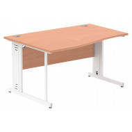 Next-Day Vitali Deluxe Left Hand Wave Desk (White Legs)
