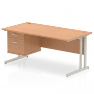 Vitali C-Leg Rectangular Desk 2 Drawers (Silver Legs)