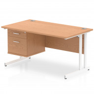Vitali C-Leg Rectangular Desk 2 Drawers (White Legs)