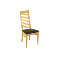 Tepla Natural Side Chair With Brown Upholstered Seat
