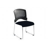 Pack of 2 Janon Sled Base Poly Conference Chairs With Upholstered Seat