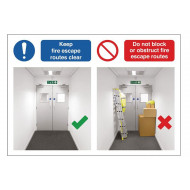 Keep Fire Escape Routes Clear Do's And Don'ts Safety Sign
