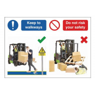 Keep To Walkways Do's And Don'ts Safety Sign