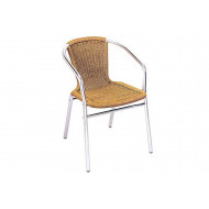 Kalvi Wicker Stacking Arm Chair With Aluminium Frame