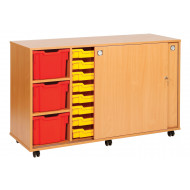 22 tray storage unit with sliding door