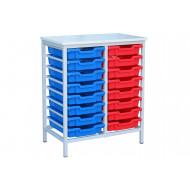 Metal Tray Storage Unit With 16 Trays