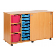 23 Tray Storage Unit With Sliding Door