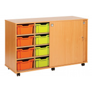 14 Tray Storage Unit With Sliding Door