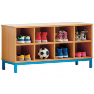 Cloakroom Bench With 8 Open Compartments